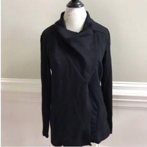 NWT H by Bordeaux Fleece Jacket Medium Black Moto